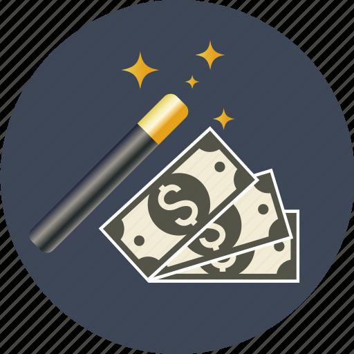 coin, currency, dollar, euro, finance, magic, money, paper, transaction, wand, yen icon