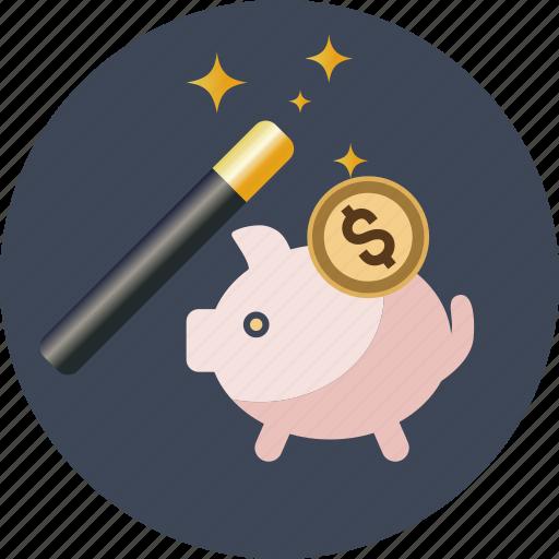 bank, box, coin, dollar, magic, money, pig, piggy, safe, saving, savings, wand icon