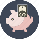 bank, box, coin, dollar, money, paper, pig, piggy, safe, saving, savings icon