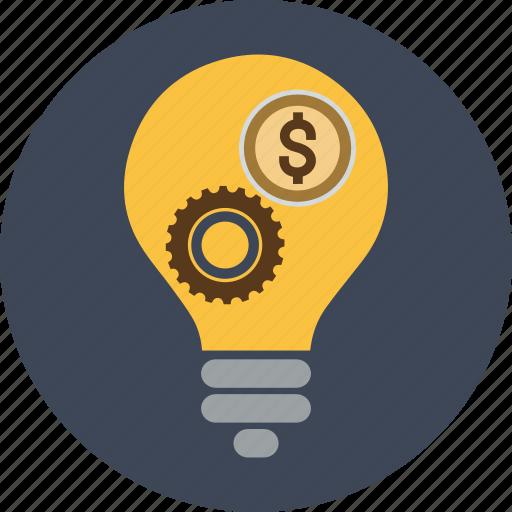 coin, currency, dollar, euro, finance, idea, lamp, light, money, transaction, yen icon