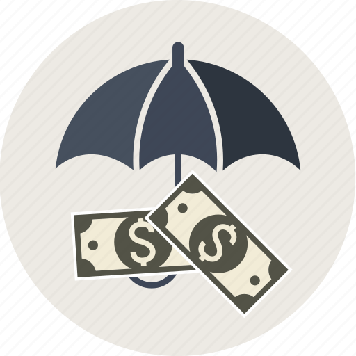 business, cash, coin, currency, dollar, euro, finance, insurance, money, paper, protect, transaction, umbrella, yen icon