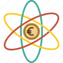analitics, atome, dollar, euro, finance, marketing, mobile, money icon