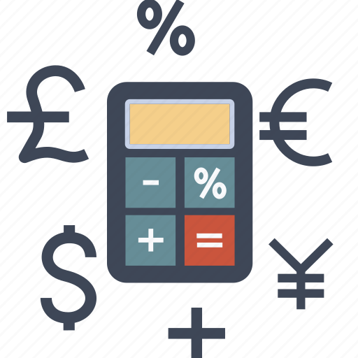 banking, budget, business, calculator, currency, dollar, euro, finance, money, percent, pund, yen icon