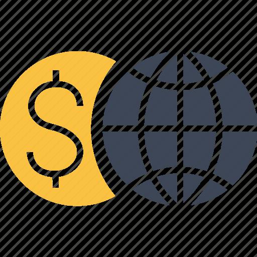 business, dollar, economy, euro, finance, global, globe, money, world icon