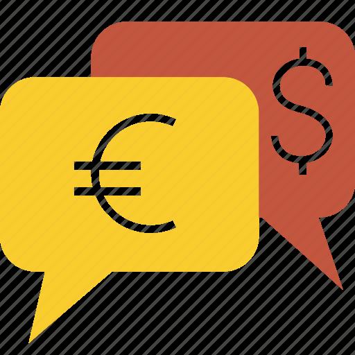 currency, dialog, dollar, euro, finance, money, transaction, yen icon