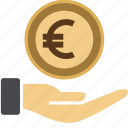 cash, coin, dollar, euro, hand, income, investment, money, sign, streched