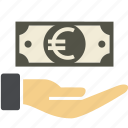 cash, coin, dollar, euro, hand, income, investment, money, paper, sign, streched icon