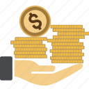 bill, cash, coin, dollar, euro, hand, income, investment, money, sign, stack, streched icon