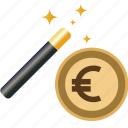 coin, currency, dollar, euro, finance, magic, money, transaction, wand, yen icon