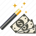 coin, currency, dollar, euro, finance, magic, money, paper, transaction, wand, yen icon