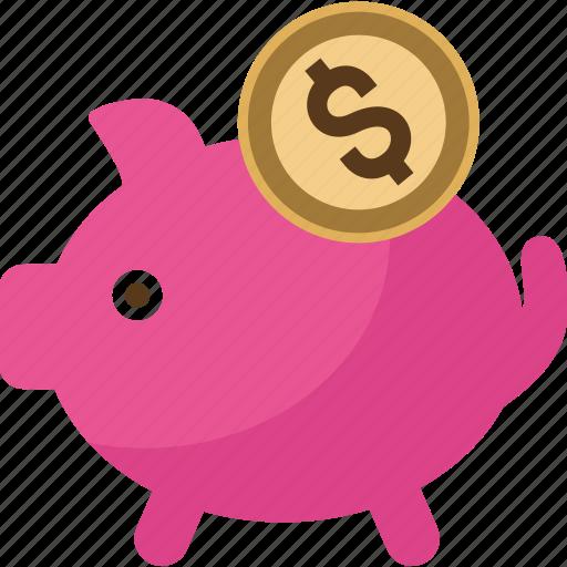 bank, box, coin, dollar, money, pig, piggy, safe, saving, savings icon