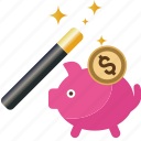 bank, box, coin, dollar, magic, money, pig, piggy, safe, saving, savings, wand icon