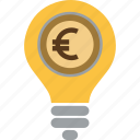 coin, currency, dollar, euro, finance, idea, lamp, light, money, transaction, yen icon