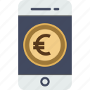 currency, dollar, ecommerce, euro, finance, money, phone, smartphone, transaction, yen icon
