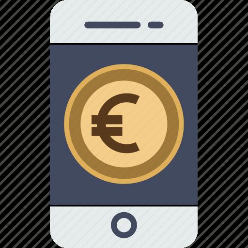 currency, dollar, ecommerce, euro, finance, money, phone, smartphone, transaction, yen icon