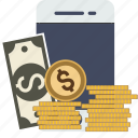 currency, dollar, ecommerce, euro, finance, money, paper, phone, smartphone, transaction, yen icon