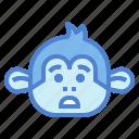 monkey, animal, mammal, wildlife, alarmed