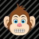 emoji, emoticon, fake, happy, monkey, smile icon