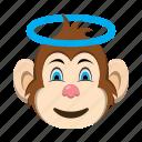 angel, emoji, emoticon, happy, monkey, smile icon