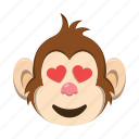 emoji, emoticon, love, monkey icon