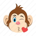 emoji, emoticon, kiss, love, monkey icon