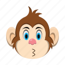 emoji, emoticon, kiss, monkey icon