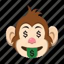 emoji, emoticon, happy, money, monkey, rich icon