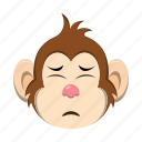 depressed, emoji, emoticon, monkey icon