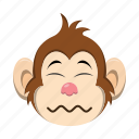 disgusted, emoji, emoticon, monkey icon