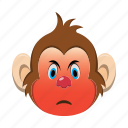 angry, emoji, emoticon, monkey icon