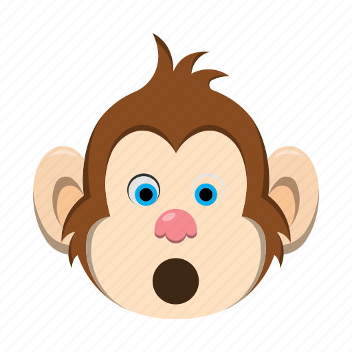 emoji, emoticon, monkey, surprised icon