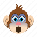emoji, emoticon, monkey, scared, surprised icon