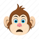 emoji, emoticon, monkey, sad, surprised icon
