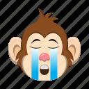 cry, crying, emoji, emoticon, monkey icon