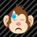 depressed, emoji, emoticon, monkey icon