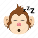 emoji, emoticon, monkey, sleep, sleepy icon