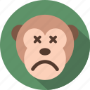 emoticon, expression, face, monkey, rounded, smile icon