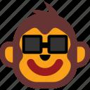 emoticon, face, monkey, expression, happy