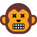 emoticon, expression, face, monkey, sad icon