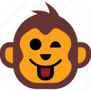 emoticon, face, happy, monkey, smiley icon