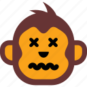 emoticon, face, monkey, sad, sick icon
