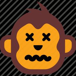emoticon, face, monkey, sad, sick icon