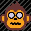 emoticon, expression, face, monkey, sad icon
