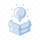 box, bulb, idea icon