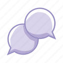 bubbles, communication, dialogue, purple, share, speak icon