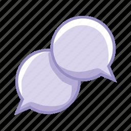 bubbles, communication, dialogue, purple, share, speak icon