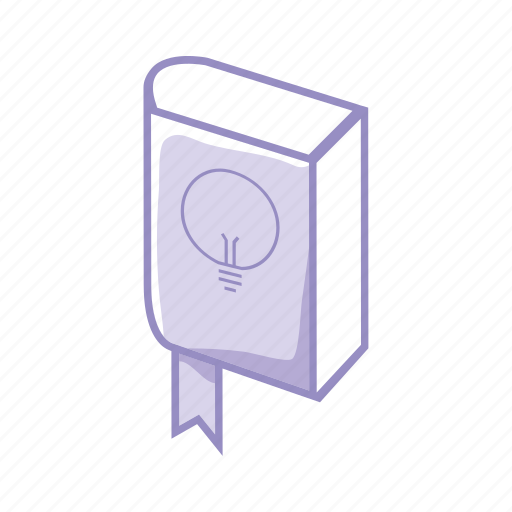 book, bulb, idea, innovation, learn, purple, school icon