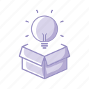 box, bulb, idea, innovation, purple icon