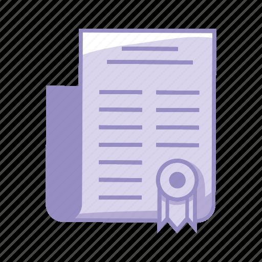 certification, degree, diploma, learn, purple, school icon