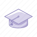 certification, degree, hat, learn, purple, school icon